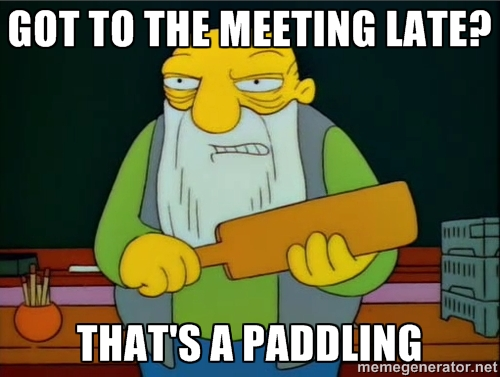 late meeting tips meme