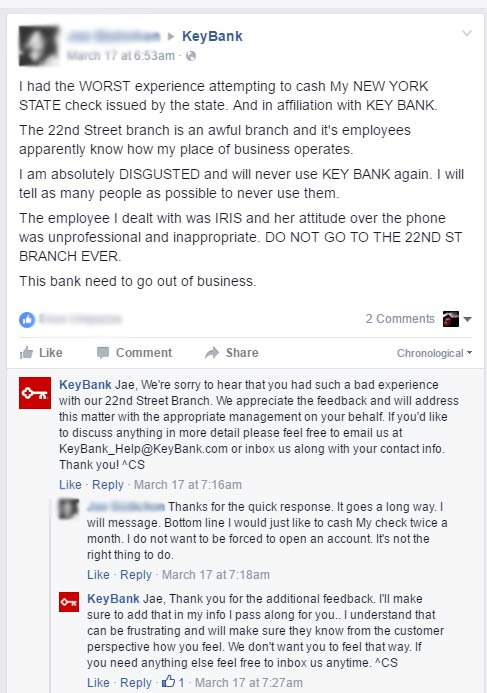 This customer had a bad experience and vented on social media which is very common nowadays. Notice how quickly the customers attitude changes when the social media agent is responsive to their issues, even going so far as to liking their post and showing appreciation. Social media a lot of times serves as backup for failed customer service.